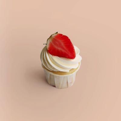 Cupcake mit Erdbeeren, Bourbon-Vanille